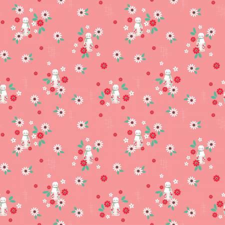 Riley Blake Rose Lane Cat Floral Dk pink