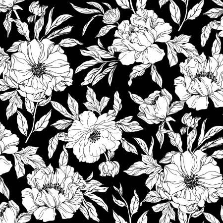 Inked - Black Drawn Tossed Florals