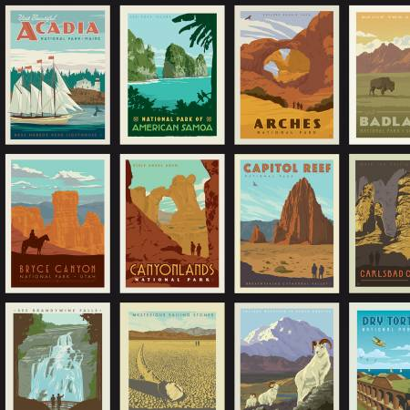 Riley Blake - National Parks - Posters Black, Yardage
