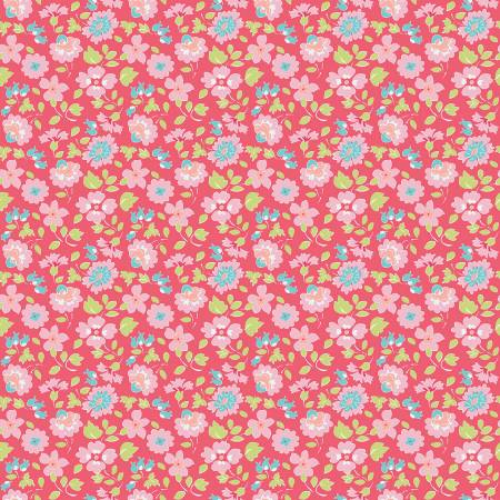 Paper Daisies Floral Dark Pink by Sue Daley