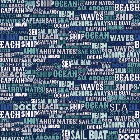 Deep Blue Sea Text Navy