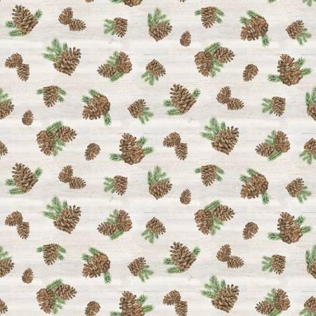 Fabric-Riley Blake Send Me To The Woods Pinecones Cream