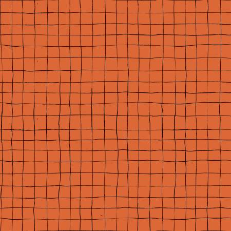 Scaredy Cat - Grid, Dark Orange - by Amanda Niederhauser for Riley Blake Designs