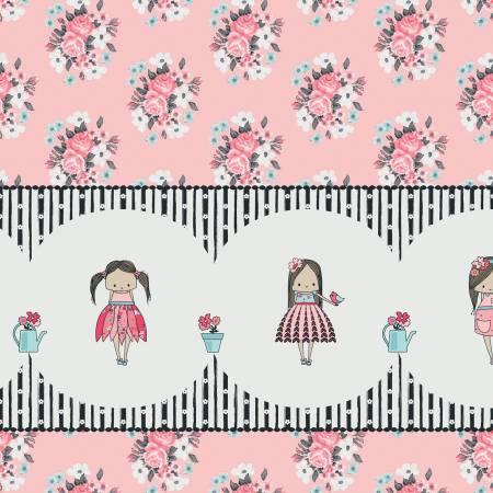 Abbies Garden Border Print - Pink