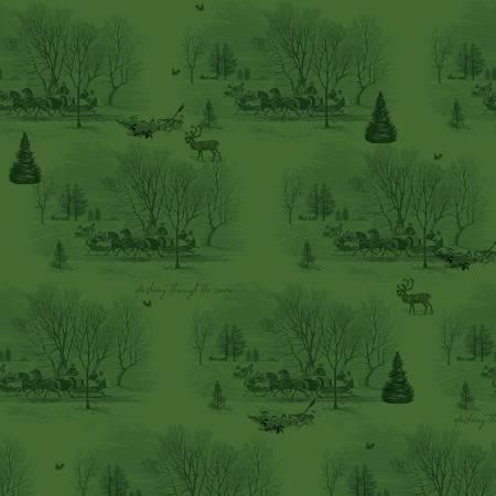 Yuletide Sleigh Toile Green 9631-green