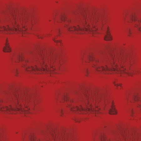 Yuletide Sleigh Toile Red