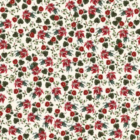Yuletide Poinsettias Cream 9632-cream