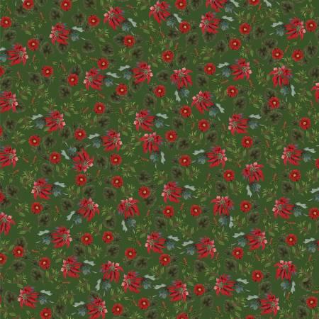 Yuletide Poinsettias Green 9632-green