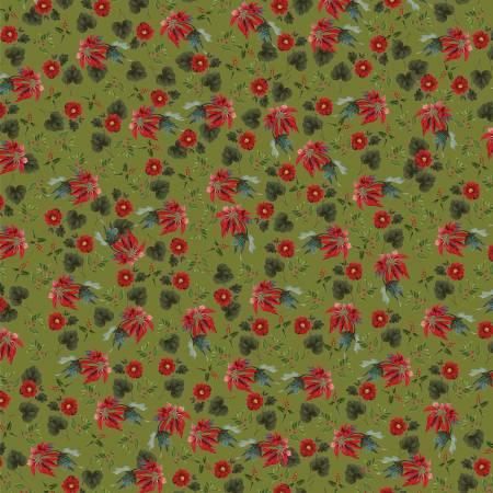 Yuletide Poinsettias Olive 9632-olive
