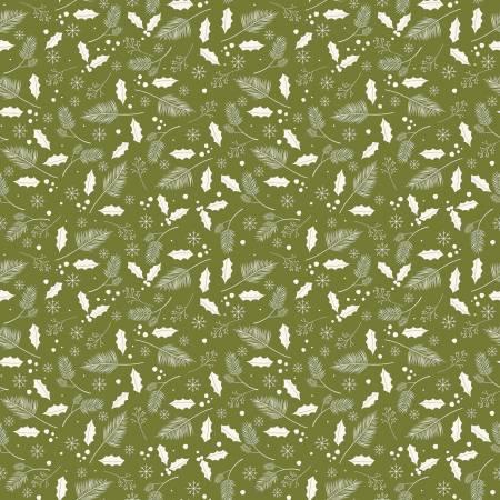 Yuletide Leaves Olive 9634-olive
