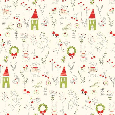 Merry Little Christmas Main Cream by Sandy Gervais for Riley Blake Designs, C9640R-CREAM