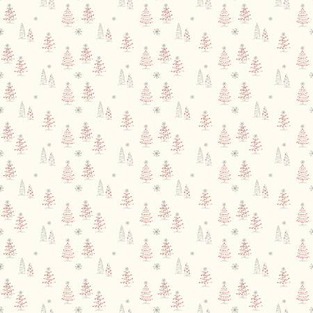 Merry Little Christmas Trees Cream designed by Sandy Gervais for Riley Blake C9641-Cream