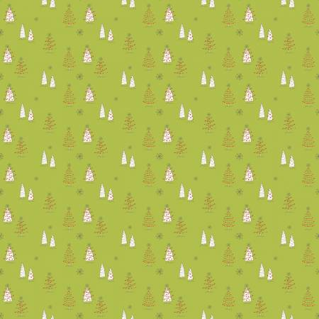 Merry Little Christmas Trees Green 9641
