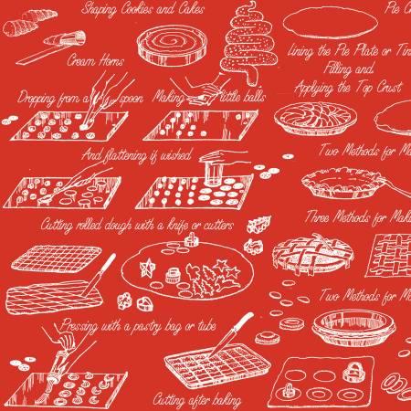 Snow Sweet Vintage Cookbooks Red C9674-RED