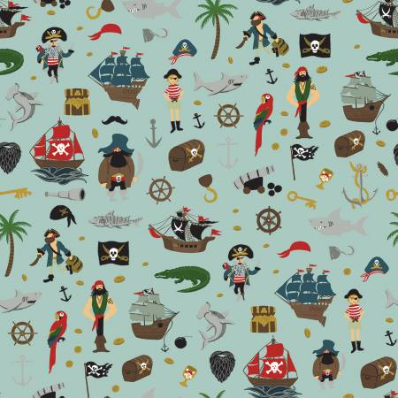 Pirate Tales Scatter Blue by Riley Blake