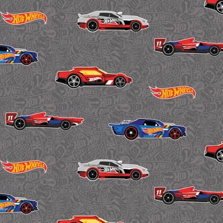 Hot Wheels Main Gray - fabric by the yard