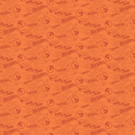 Hot Wheels Dare To Be Rad Orange - fabric by the yard