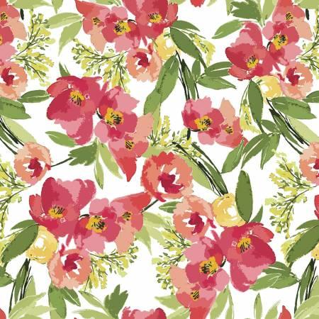 Riley Blake Glohaven Main Floral - White
