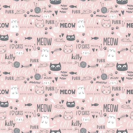 Purrfect Day by My Mind's Eye for Riley Blake #C9902- Text Pink