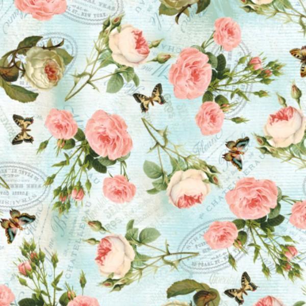 Turquoise/Multi Teapot Roses