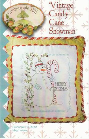 Vintage Candy Cane Snowman Pillow