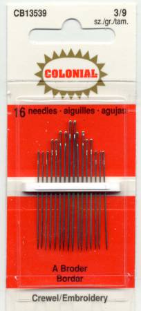 Embroidery Needles Size 3/9 16 ct
