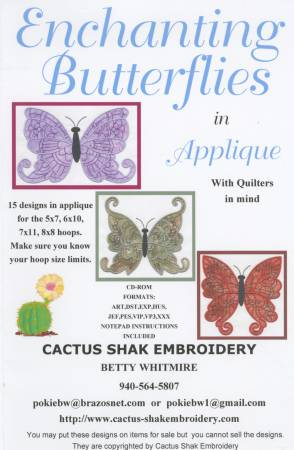 CD Enchanting Butterflies Machine Embroidery