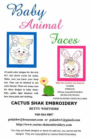 706433971862 baby animal faces embroidery