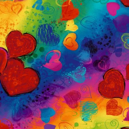 Bright Hearts Digitally Printed