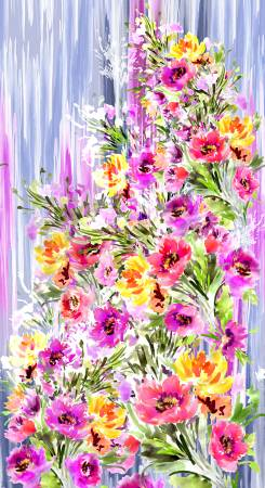 Watercolor Multi Floral Panel 24in Digitally Printed