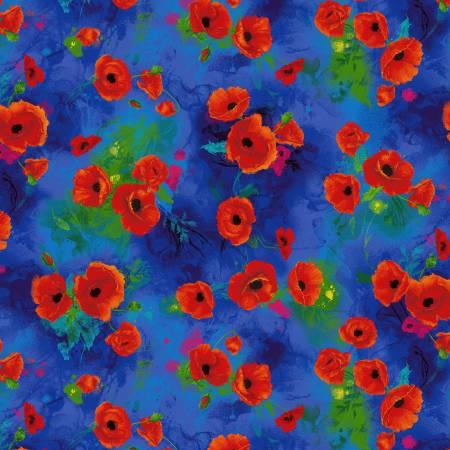 Blue Poppy Allover Digitally Printed