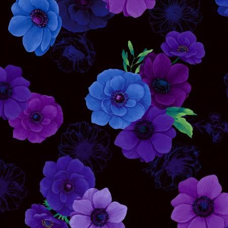 Timeless Treasures Black Floral Digitally Printed CD6842