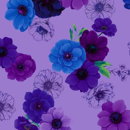 Timeless Treasures Misty CD6842 Violet Floral Allover Digital Print