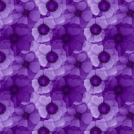 Timeless Treasures Misty CD6843 Purple Flower Tonal Digitally Printed