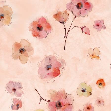 F-CB-TTR-FLR-03  Timeless Treasures-FLR - FLEUR-03-CD7193 Pink w/ Watercolor Flowers