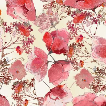 F-CB-TTR-FLR-04  Timeless Treasures-FLR - FLEUR-04-CD7194 Cream w/ Pink watercolor flowers