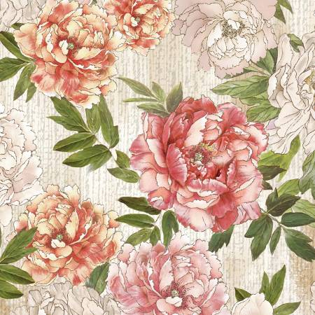 Multi Peonies Floral Digitally Printed