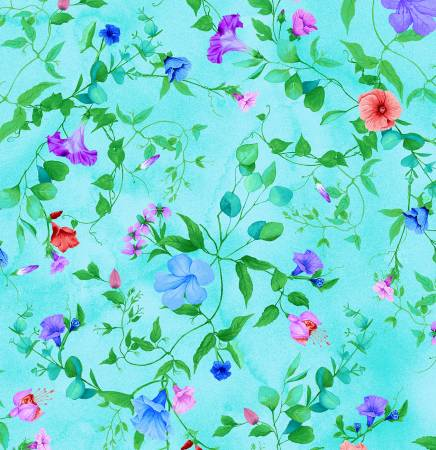 1907 Aqua Floral Digitally Printed  Timeless Treasures