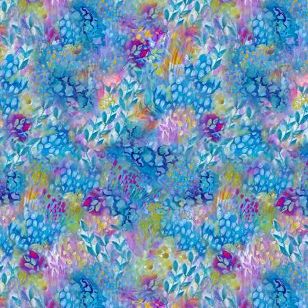 Painted Paradise Fleur Blue Painted Floral Texture Blue CD8717