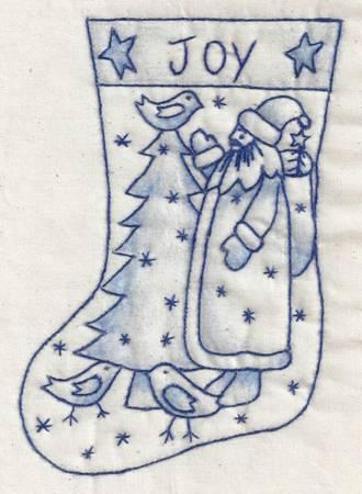 Santa Stocking Bluework #11B by Chickadee Hollow Designs