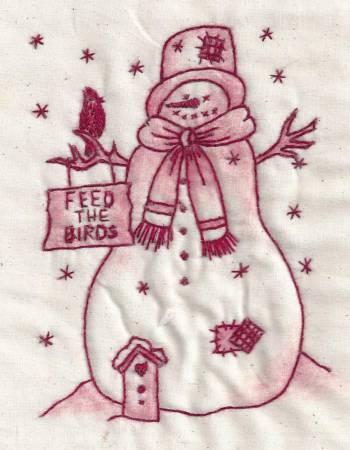 Birdfeed Snowman Redwork