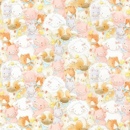 Bunnies CF 5861 Multi Farm Animals Flannel