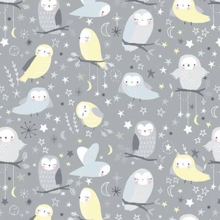 Fabric Stone Owls Flannel Gray