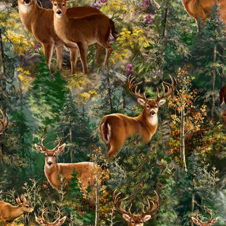 Deer Scenic Flannel<br>CF6737-FERN
