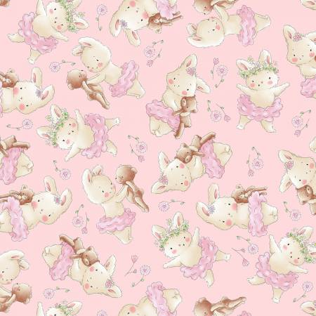 Pink Ballerina Bunny on Flannel