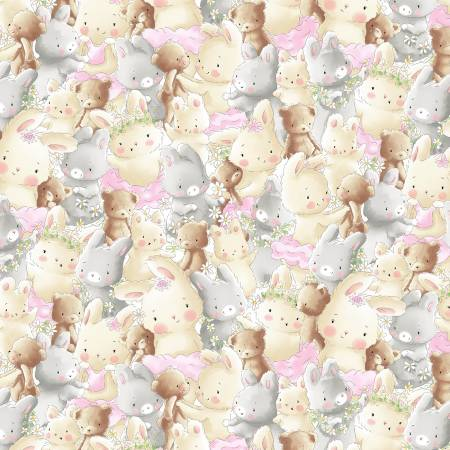 Friendship Blossoms Flannel Packed Bunny and Bear BUNNIES-CF7247-MULTI