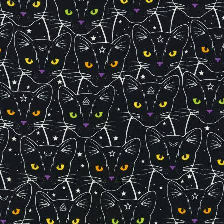 Black Star & Moon Cats Glow in the Dark Fabric - CG7018