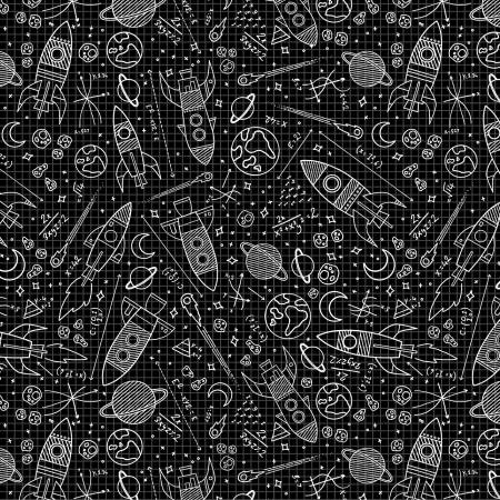 Black Space Rockets Glow's in the Dark Cotton Fabric