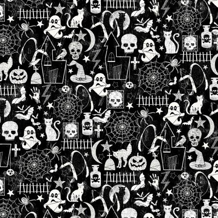 Black Halloween Glow in the Dark Fabric