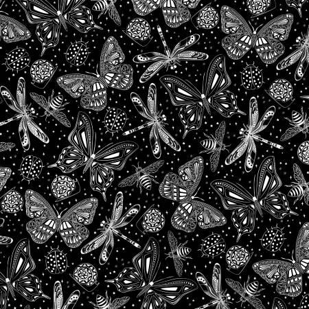 Black Butterflies Glow in the Dark Fabric
